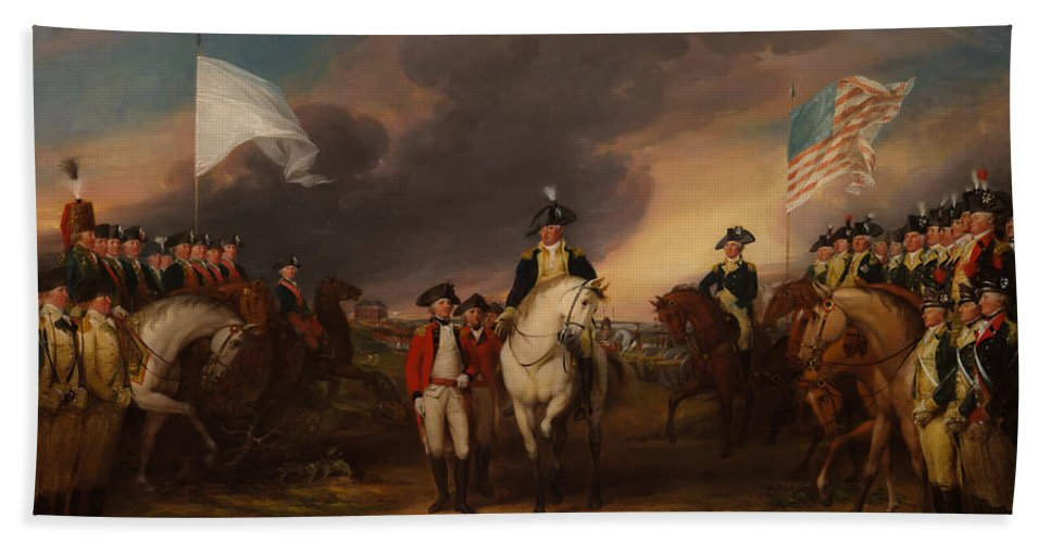 Painting Beach Towel featuring the painting The Surrender Of Lord Cornwallis At Yorktown by Mountain Dreams