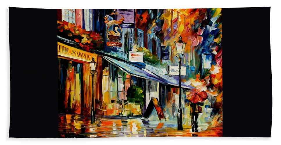 Afremov Beach Towel featuring the painting The Swan - London by Leonid Afremov