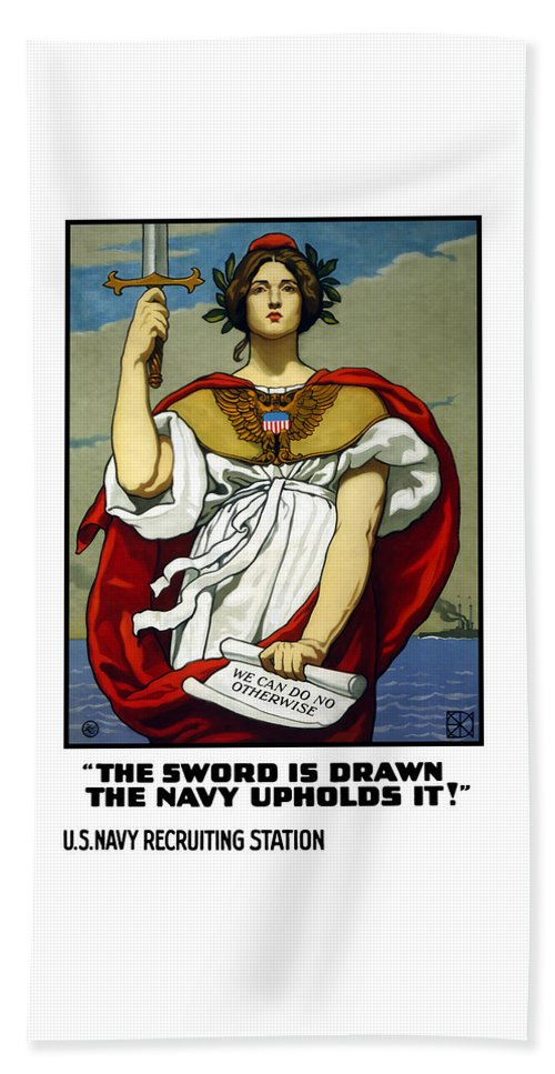 Navy Beach Towel featuring the painting The Sword Is Drawn - The Navy Upholds It by War Is Hell Store