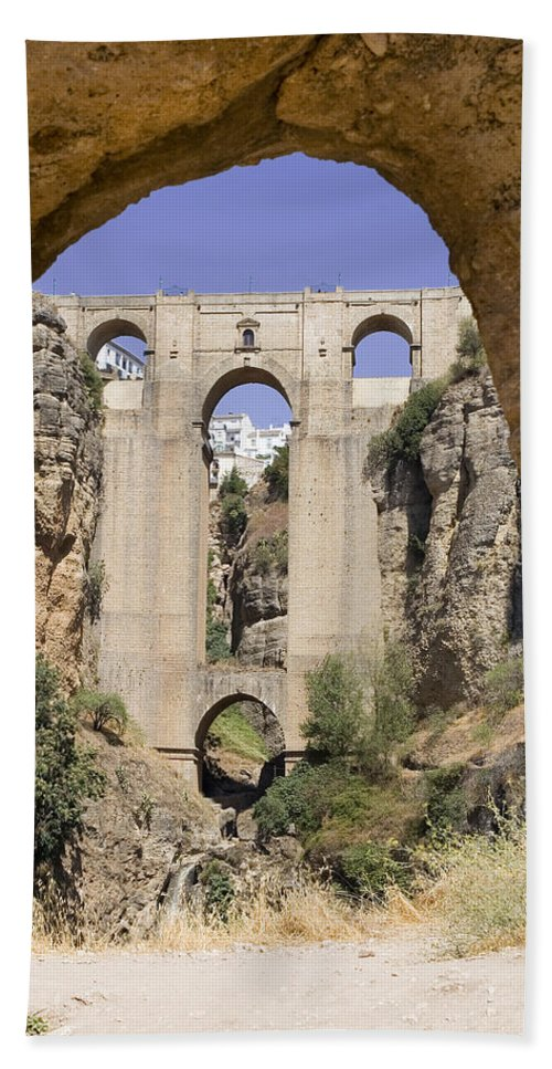 Ronda Beach Sheet featuring the photograph The Tajo De Ronda And Puente Nuevo Bridge Andalucia Spain Europe by Mal Bray