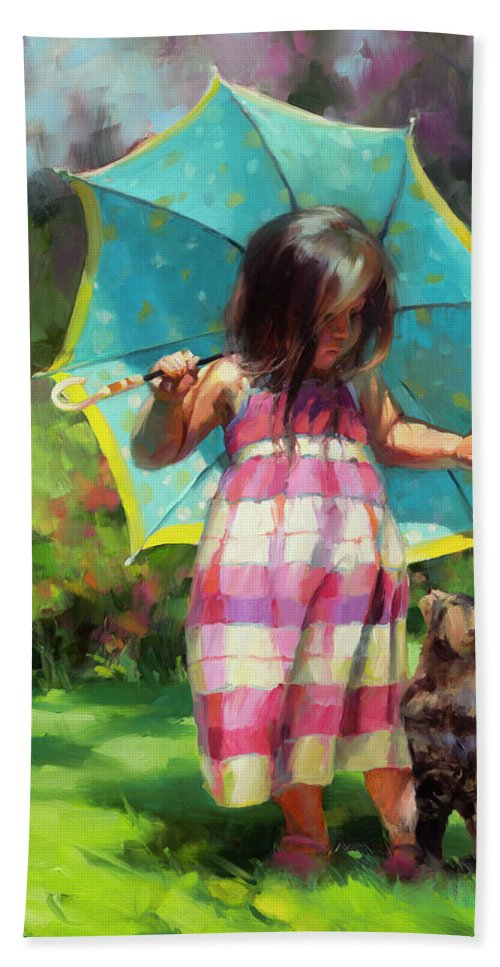 Child Beach Towel featuring the painting The Teal Umbrella by Steve Henderson