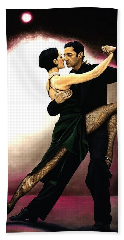 Tango Beach Towel featuring the painting The Temptation Of Tango by Richard Young