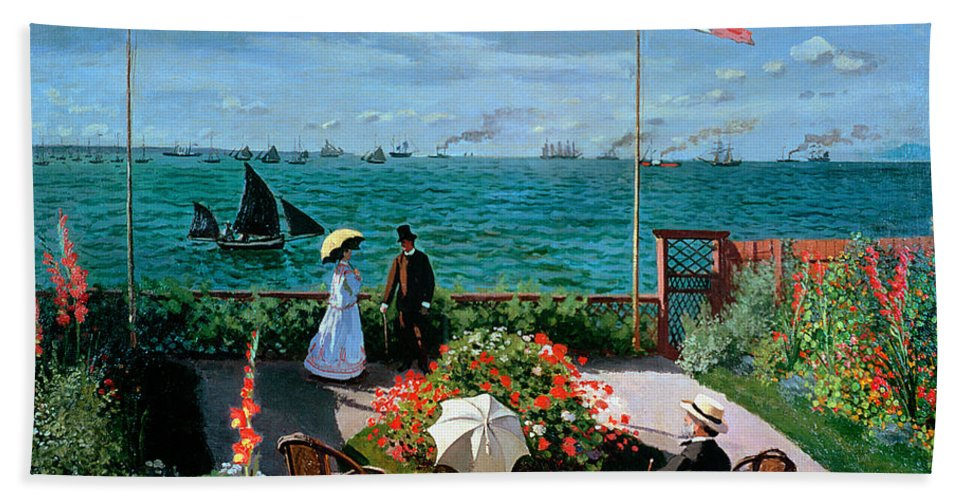 Claude Monet Beach Towel featuring the painting The Terrace At Sainte Adresse by Claude Monet