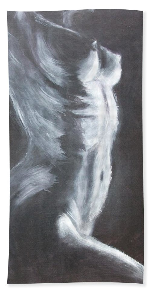 The Thin Line Beach Towel featuring the painting The Thin Line by Carmen Tyrrell