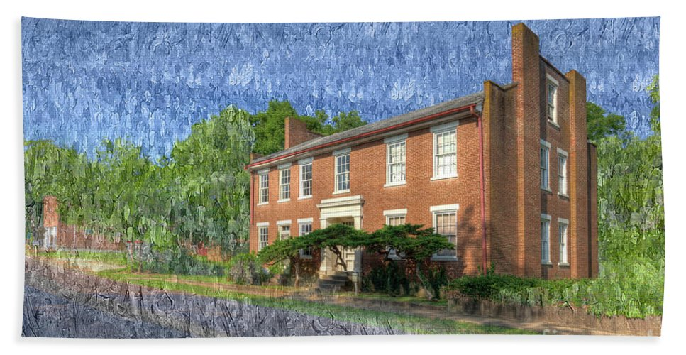Hdr Beach Towel featuring the photograph The Thompson House by Larry Braun