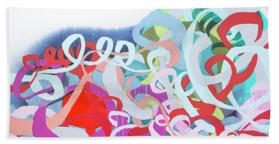 Abstract Beach Towel featuring the painting The Thrill Of It All by Claire Desjardins