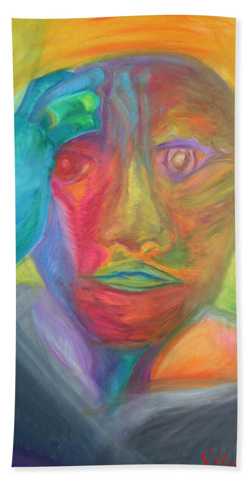 Beach Towel featuring the pastel The Time Rider by Sitara Bruns