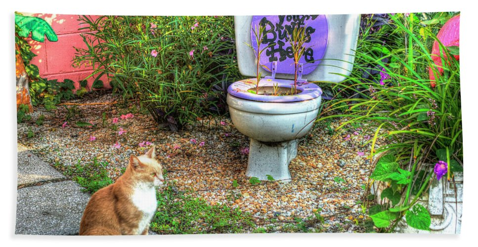 Garden Beach Towel featuring the photograph The Toilet Garden by TJ Baccari