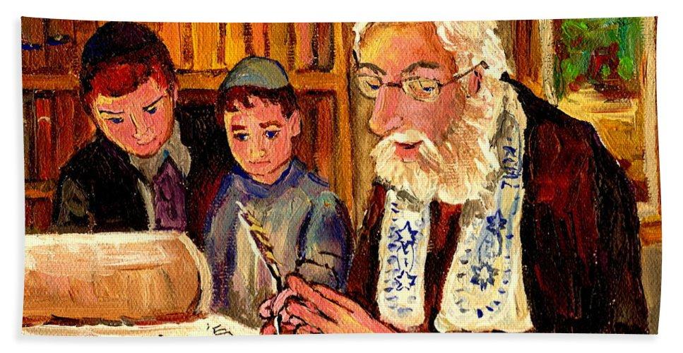 Torah Beach Towel featuring the painting The Torah Scribe by Carole Spandau