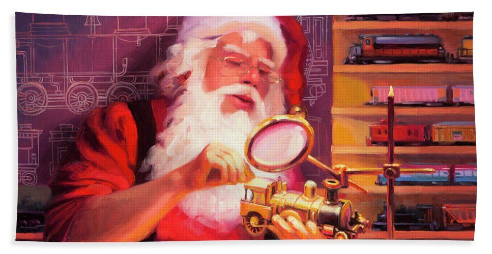 Christmas Beach Towel featuring the painting The Trainmaster by Steve Henderson
