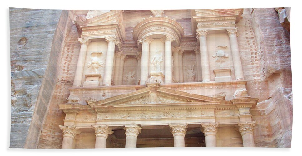 Petra Beach Towel featuring the photograph The Treasury - Jordan by Munir Alawi