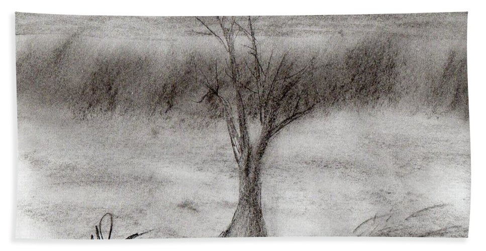 Tree Beach Towel featuring the drawing The Tree by Michael Jones