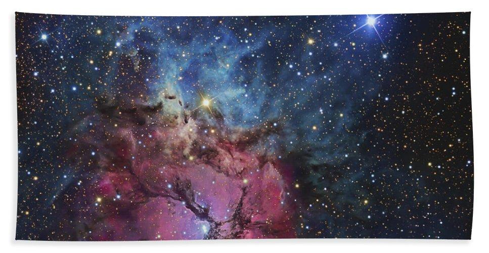 Night Beach Towel featuring the photograph The Trifid Nebula by R Jay GaBany