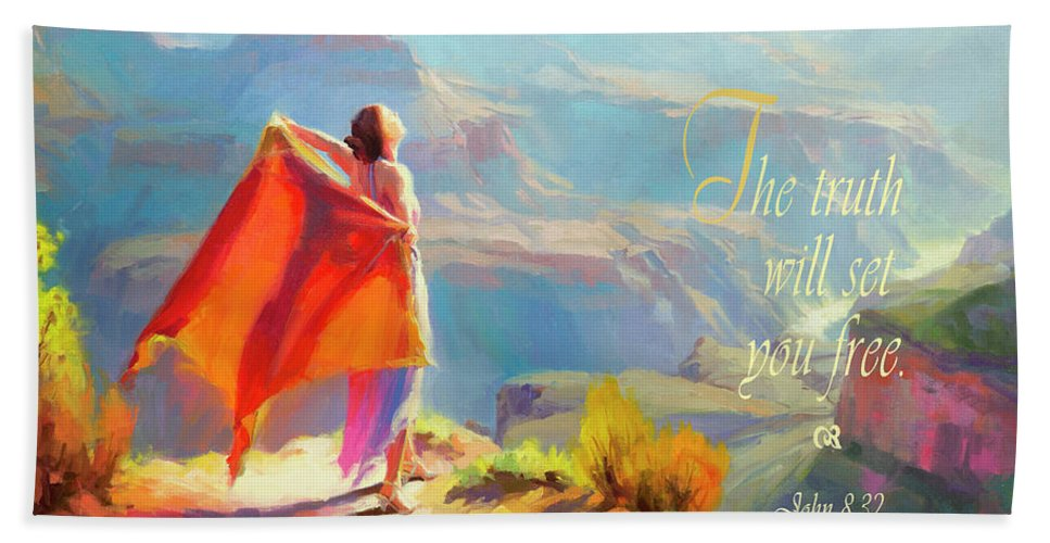 Eyrie Beach Towel featuring the digital art The Truth Will Set You Free by Steve Henderson