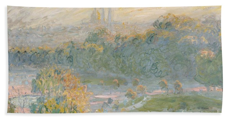 Claude Monet Beach Towel featuring the painting The Tuileries by Claude Monet