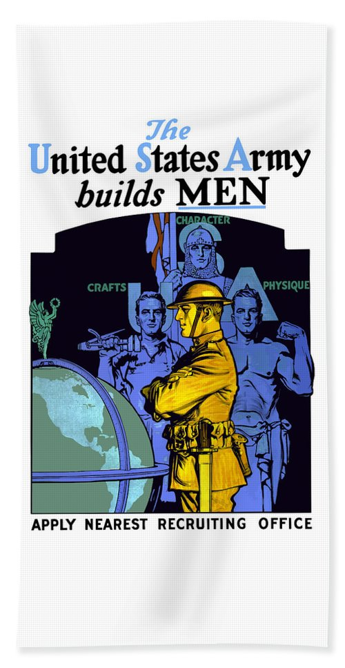 Us Army Beach Towel featuring the painting The United States Army Builds Men by War Is Hell Store