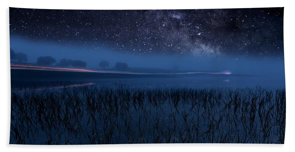Night Beach Towel featuring the photograph The Universe by Jorge Maia