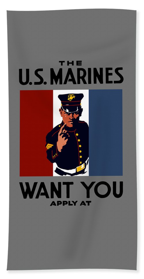 Marines Beach Towel featuring the painting The U.s. Marines Want You by War Is Hell Store