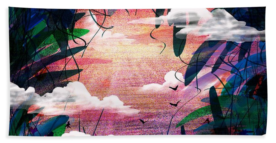 Abstract Beach Towel featuring the digital art The View From Up Here by Rachel Christine Nowicki