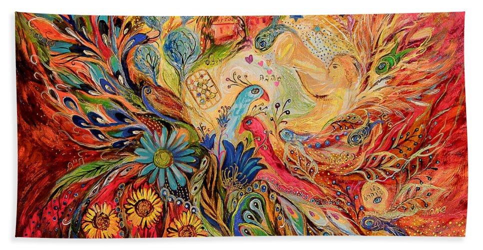 Original Beach Towel featuring the painting The Village Keeper by Elena Kotliarker