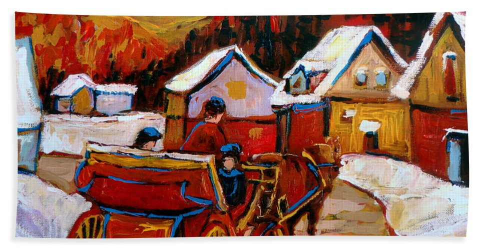 Saint Jerome Beach Towel featuring the painting The Village Of Saint Jerome by Carole Spandau