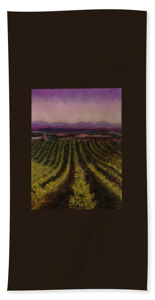 Landscape Beach Towel featuring the pastel The Vineyard by Pat Snook