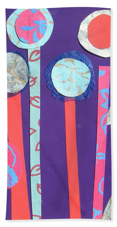 Flowers Beach Towel featuring the mixed media The Violet Hour by Debra Bretton Robinson