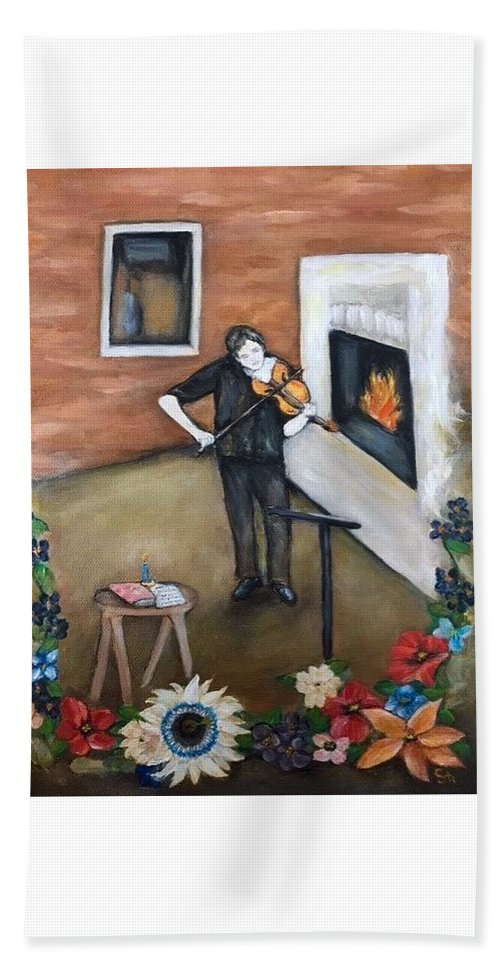 #painting #illustration #art #folk #folkart #folkartist #bannerandsail #violin #music #flowers #fireplace #window #notes #stand #passion #flower #passionflower #oil #sketch #table #modern #contemporary #oilpainting #wallart Beach Towel featuring the painting The Violinist by Stephanie Callsen