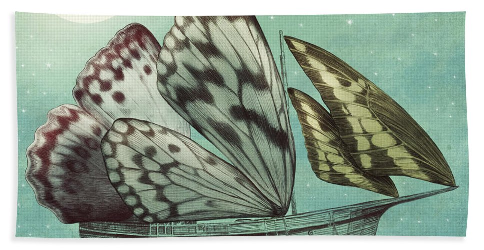 Butterfly Beach Towel featuring the drawing The Voyage by Eric Fan
