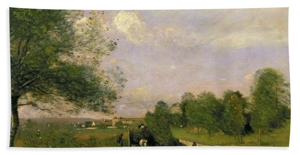 The Wagon Beach Towel featuring the painting The Wagon by Jean Baptiste Camille Corot