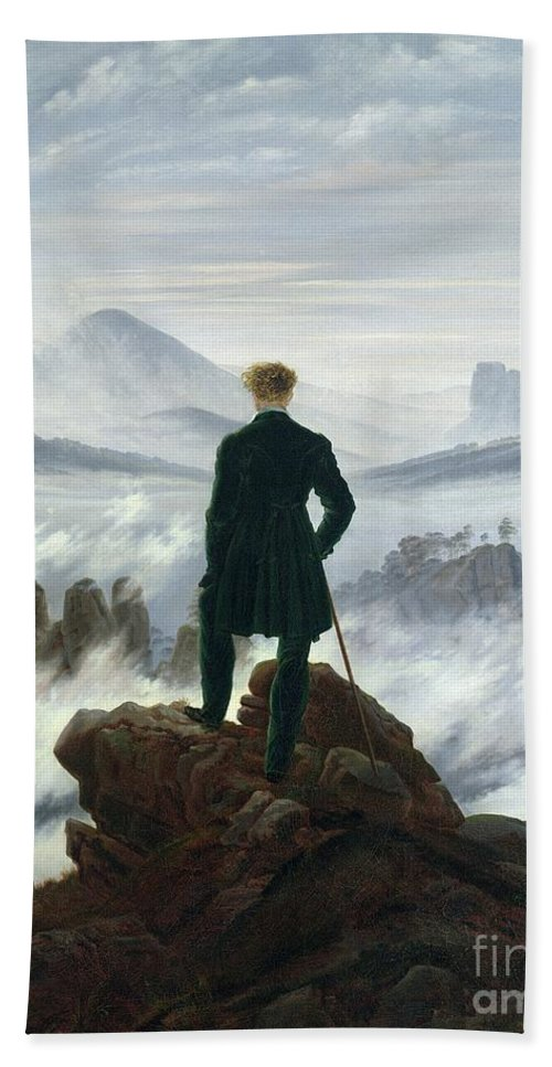 The Beach Towel featuring the painting The Wanderer above the Sea of Fog by Caspar David Friedrich