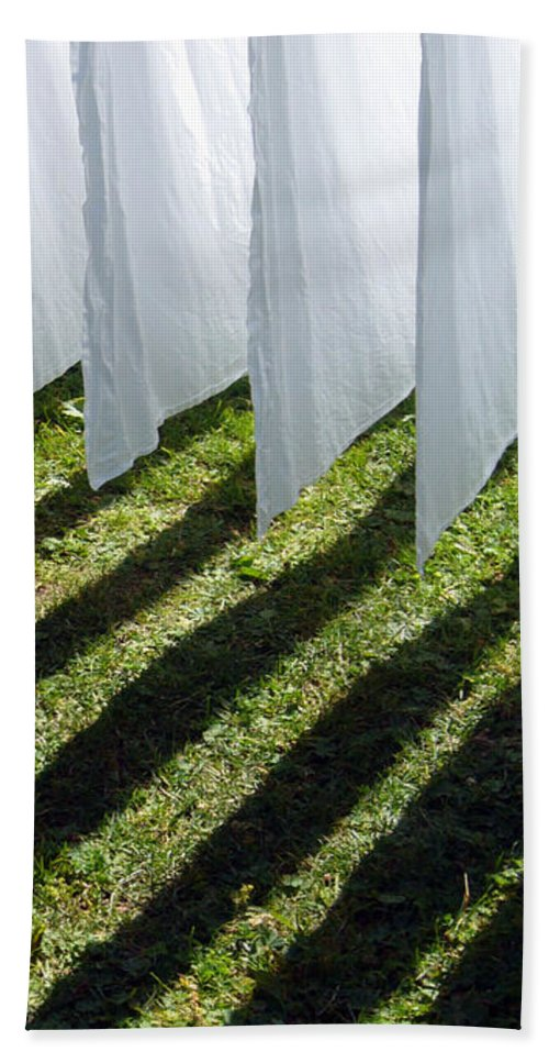 Shadow Beach Towel featuring the photograph The Washing Is On The Line - Shadow Play by Matthias Hauser