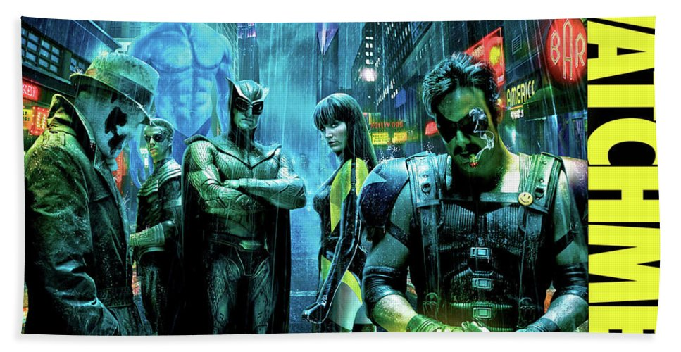 The Watchmen Beach Towel featuring the photograph The Watchmen,nite Owl, Silk Spectre II, Roschach, Dr. Manhattan, Ozymandias, The Comedian by Thomas Pollart