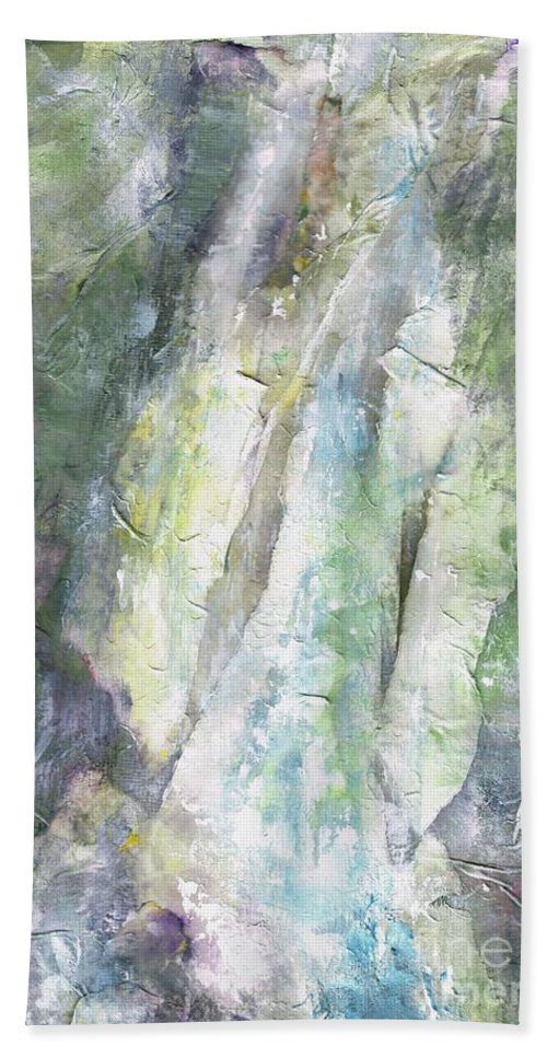 Waterfalls Beach Towel featuring the painting The Water Falls by Frances Marino