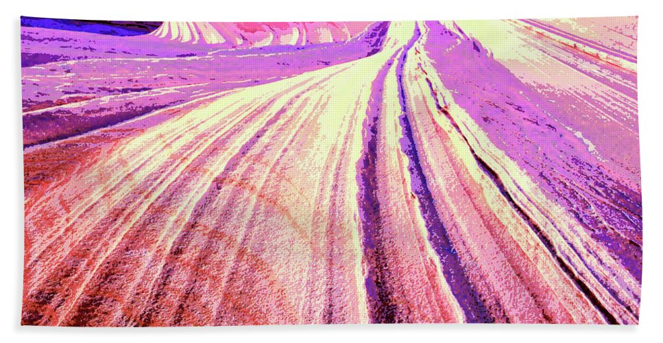Rock Formation Beach Towel featuring the mixed media The Wave by Dominic Piperata