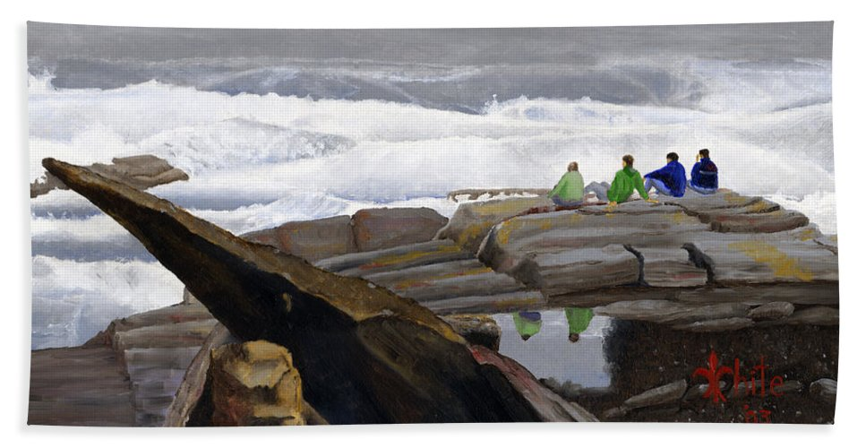 Waves Beach Towel featuring the painting The Wave Watchers by Dominic White