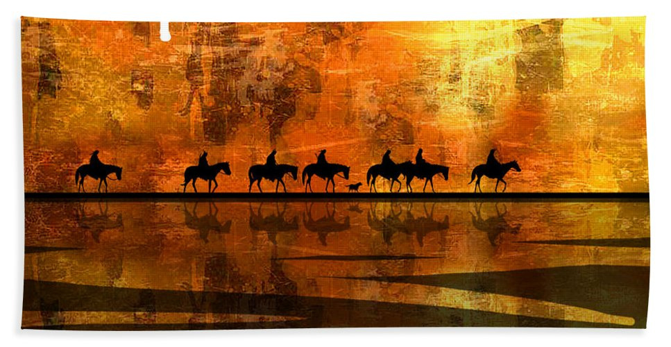 Native Americans Beach Towel featuring the painting The Weary Journey by Paul Sachtleben