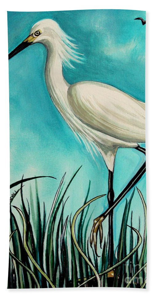 Bird Beach Towel featuring the painting The White Egret by Elizabeth Robinette Tyndall