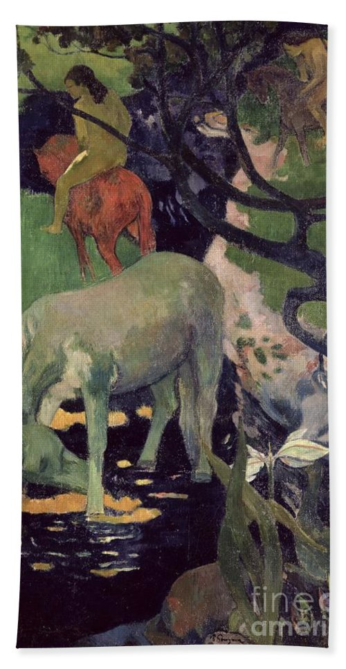 The White Horse Beach Towel featuring the painting The White Horse by Paul Gauguin