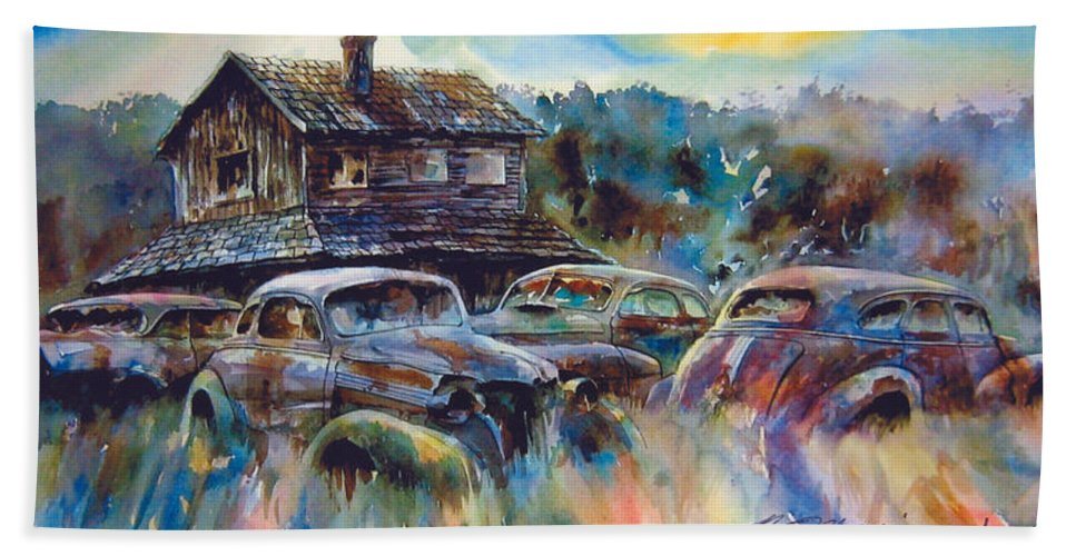 Old Rusty Dilapidated Cars House Beach Towel featuring the painting The Wide Spread by Ron Morrison