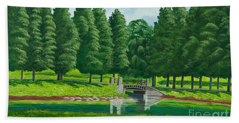 Colgate University Taylor Lake Beach Sheet featuring the painting The Willow Path by Charlotte Blanchard