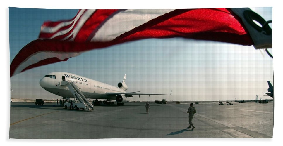 Horizontal Beach Towel featuring the photograph The Wind Blows The U.s. Flag by Stocktrek Images