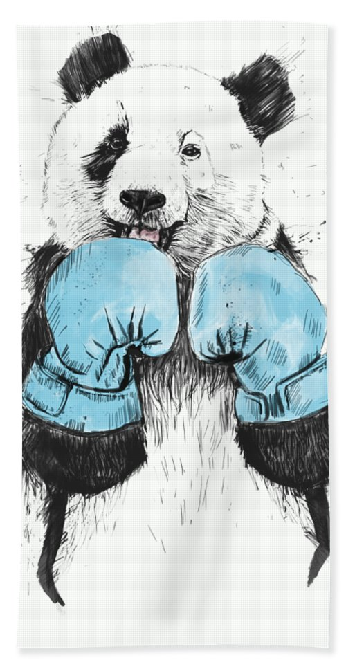 Panda Beach Towel featuring the digital art The Winner by Balazs Solti