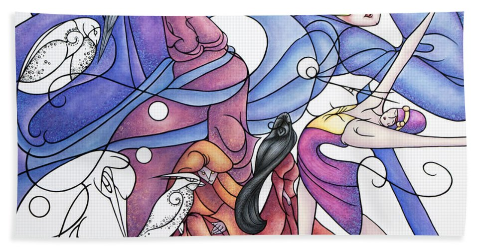 Wizard Beach Towel featuring the painting The Wizards Daughter by Judy Henninger