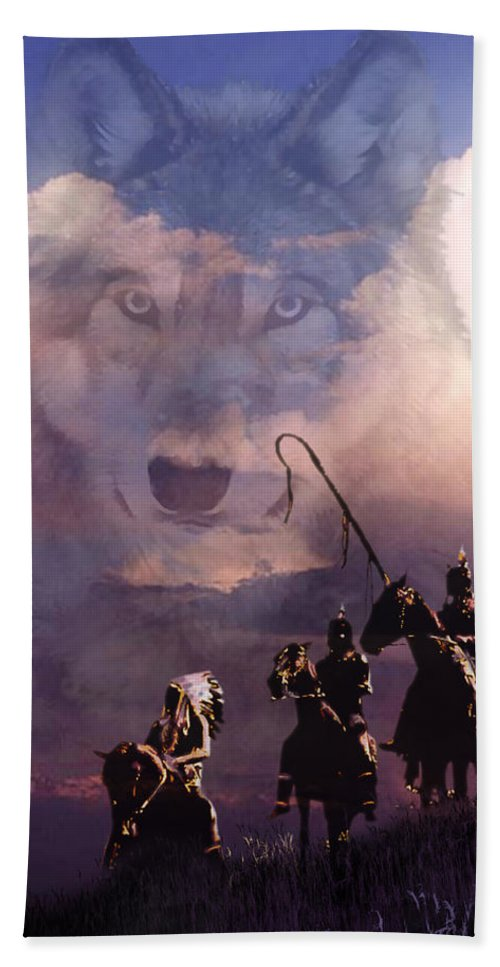 Native Americans Beach Towel featuring the painting The Wolf by Paul Sachtleben