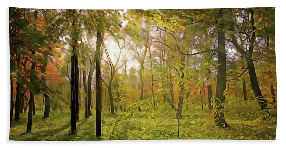The Woods Beach Towel featuring the painting The Woods by Harry Warrick