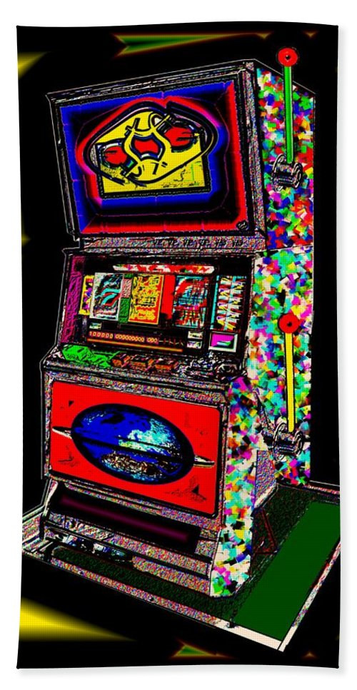 Greed Beach Towel featuring the digital art the World-Trade-Slot-Machine by Helmut Rottler