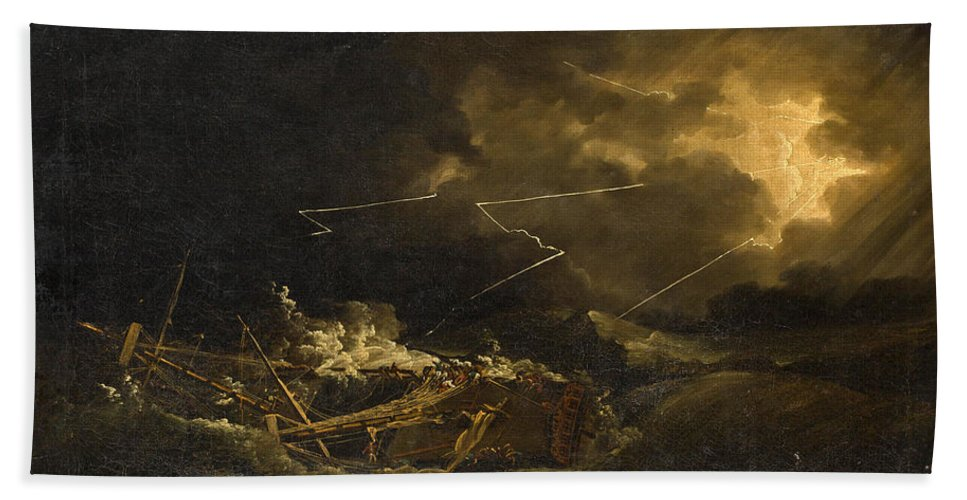 John Thomas Serres Beach Towel featuring the painting The Wreck Of The H.m.s. Deal Castle Off Puerto Rico During The Great Hurricane Of 1780 by John Thomas Serres