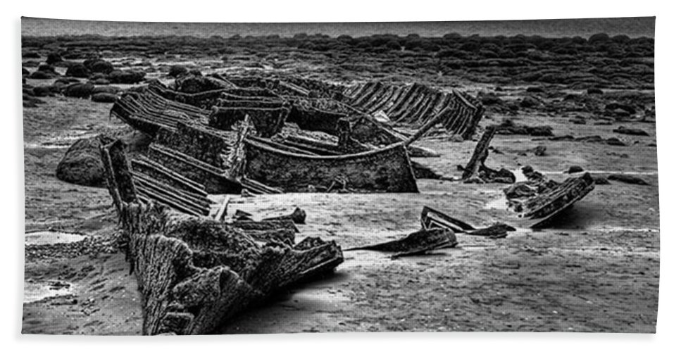Trawler Beach Towel featuring the photograph The Wreck Of The Steam Trawler by John Edwards