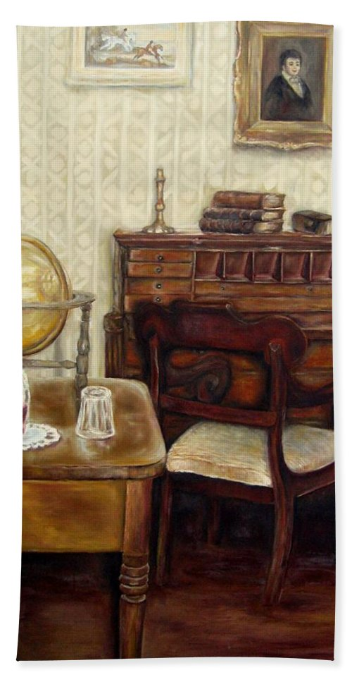 Writings Beach Towel featuring the painting The Writing Room by Carole Spandau